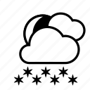 clouds, heavy snow, moon, night, weather, winter icon