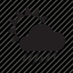 climate, cloud, drizzle, morning, rain, sun, weather icon