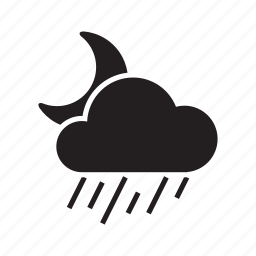 climate, cloud, drizzle, moon, night, rain, weather icon
