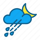 atmosphere, climate, clouds, forecast, night, rain, weather icon