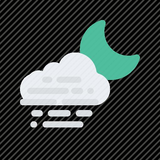 cloud, fog, forecast, mist, night, temperature, weather icon
