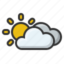 clouds, cloudy, forecast, sun, sunny, weather icon