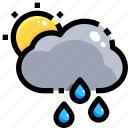 drop, rain, raindrop, shower, sun, teardrop, water