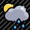 drop, rain, raindrop, shower, sun, teardrop, water icon