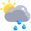 drop, rain, raindrop, shower, sun, teardrop, water icon