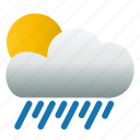 cloud, shower, sunny, weather icon
