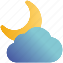 cloud, cool, crescent, moon, night, weather
