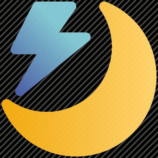 Forecast, lightning, moon, storm, thunder, weather icon - Download on Iconfinder