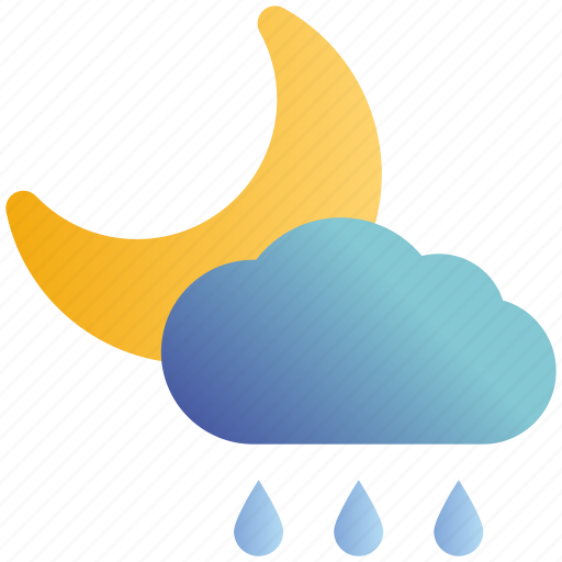 Cloud, moon, night, rain, rainy, weather icon - Download on Iconfinder