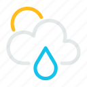 cloud, condition, forecast, rain, sun, weather icon