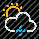 cloud, rain, sun, sunny, weather