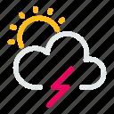 forecast, sun, sunny, thunder, weather