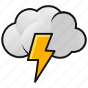 clouds, lightning, thunder, weather icon
