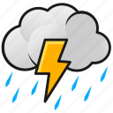 clouds, lightning, rain, thunder, weather icon