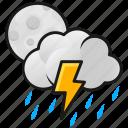 lightning, moon, night, thunder, weather