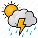lightning, rain, sun, thunder, weather icon