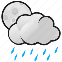 clouds, moon, night, rain, weather icon