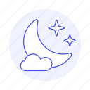 cloud, meteorology, moon, night, sky, star, time, weather icon