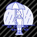 drop, female, humid, meteorology, puddle, rain, raining, rainy, region, stormy, umbrella, water, weather