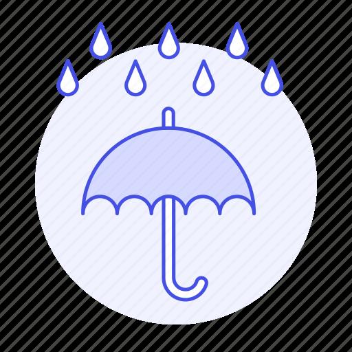 downpour, humid, meteorology, rain, rainy, time, umbrella, weather icon