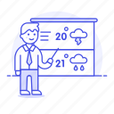 2, forecast, forecasting, male, meteorology, reporter, temperature, time, weather icon