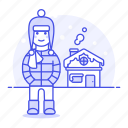 1, cold, hat, house, male, meteorology, outdoors, region, snow, weather, winter icon