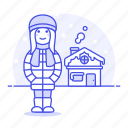 cold, female, hat, house, meteorology, outdoors, region, snow, weather, winter icon