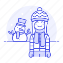 cold, earflap, female, gloves, hat, meteorology, pom, snow, snowman, weather, winter icon