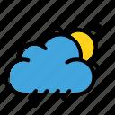 cloudy, rain, sun, weather