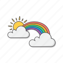 rainbow, sun, clouds, weather