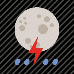 lightning, moon, rain, weather icon
