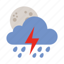 cloud, lightning, moon, rain, shower, weather icon