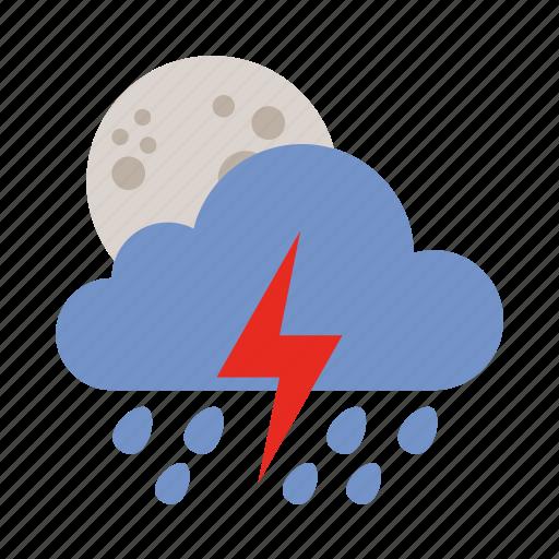 cloud, lightning, moon, rain, shower, weather icon
