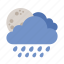 cloud, moon, rain, shower, weather icon