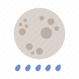 moon, rain, shower, weather icon