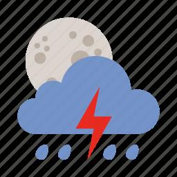 cloud, lightning, moon, rain, weather icon