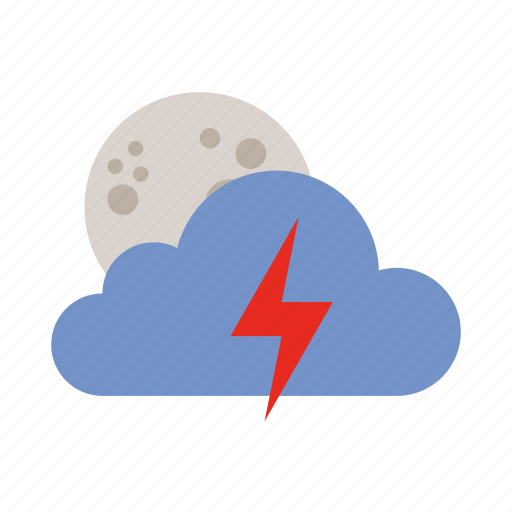 cloud, lightning, moon, weather icon