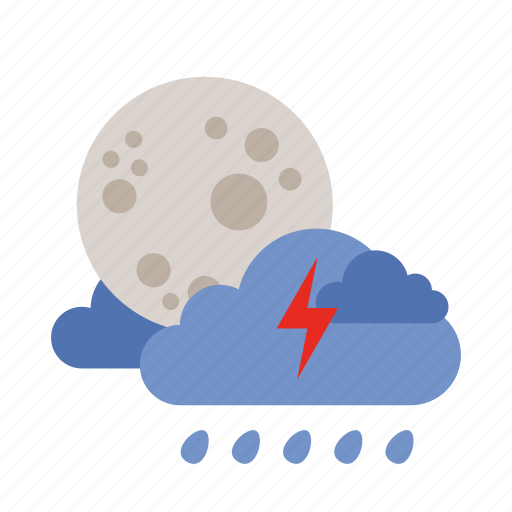 cloud, lightning, moon, rain, weather icon
