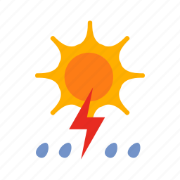 lightning, rain, storm, sun, weather icon