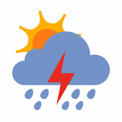 cloud, lightning, rain, storm, sun, weather icon