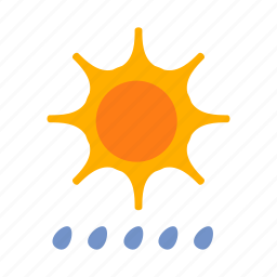 drizzles, rain, sun, weather icon