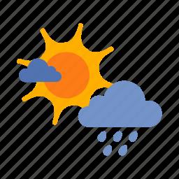 cloud, drizzles, rain, sun, weather icon