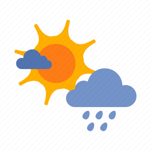 cloud, drizzles, rain, sun, weather icon