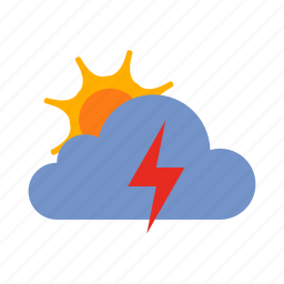 cloud, lightning, storm, sun, weather icon