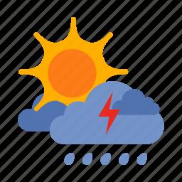 cloud, lightning, rain, storm, sun, weather icon