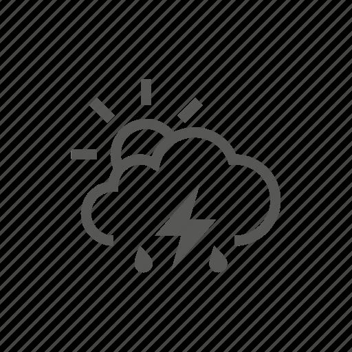 partial, rain, raining, storm, sun, weather icon