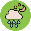 cloud, forecast, moon, rain, raining, stars, weather climate icon