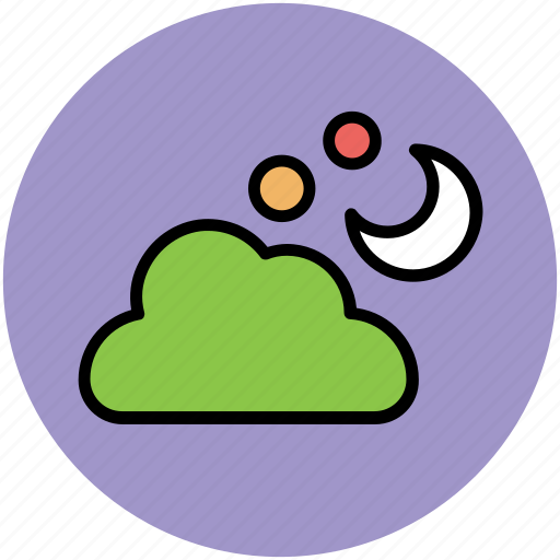 cloud, cloudy weather, forecast, moon, night, sky, stars, weather icon