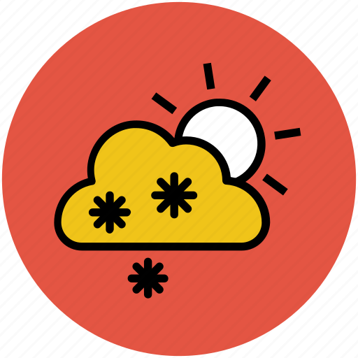 cloud, cold, snow falling, sun, weather, weather prediction, winters icon