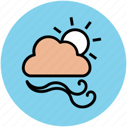 cloud, forecast, sun, weather, weather prediction, winds icon
